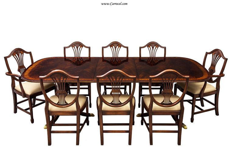 Flamed Mahogany Duncan Phyfe Style High Gloss Dining Table And Amusing Tucker Dining Room Set Design Inspiration