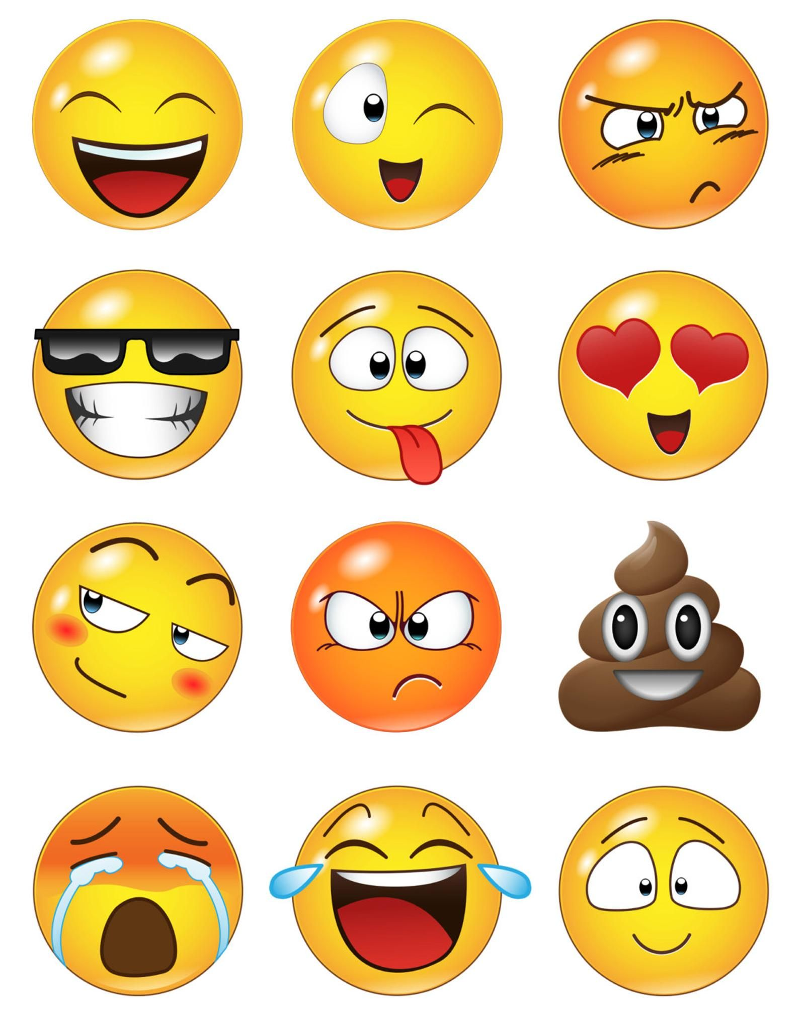 12 Large Emoji Faces Wall Graphic Decal Sticker #6052