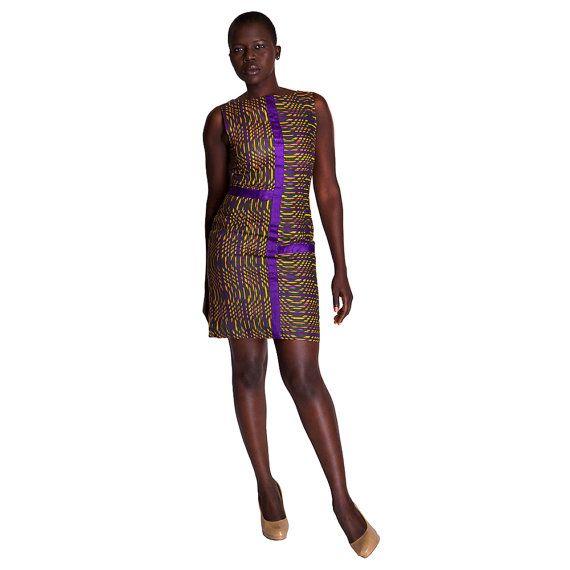 KWESIYA Robe Courte en Wax avec Empiècement en Bazin Violet