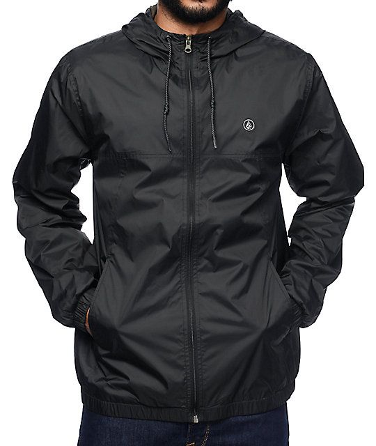 Volcom Ermont Black Windbreaker Jacket | Black windbreaker ...