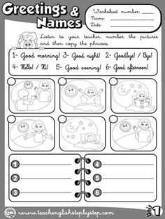 greetings and names worksheet 4 b w version manners and responsibilities worksheets. Black Bedroom Furniture Sets. Home Design Ideas