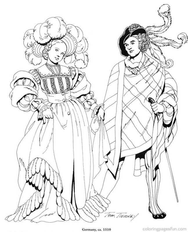 Renaissance Costumes and Clothing Coloring Pages 23 | Coloring ...