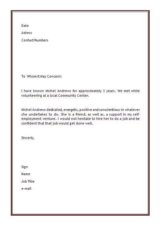 volunteer letter of recommendation sample