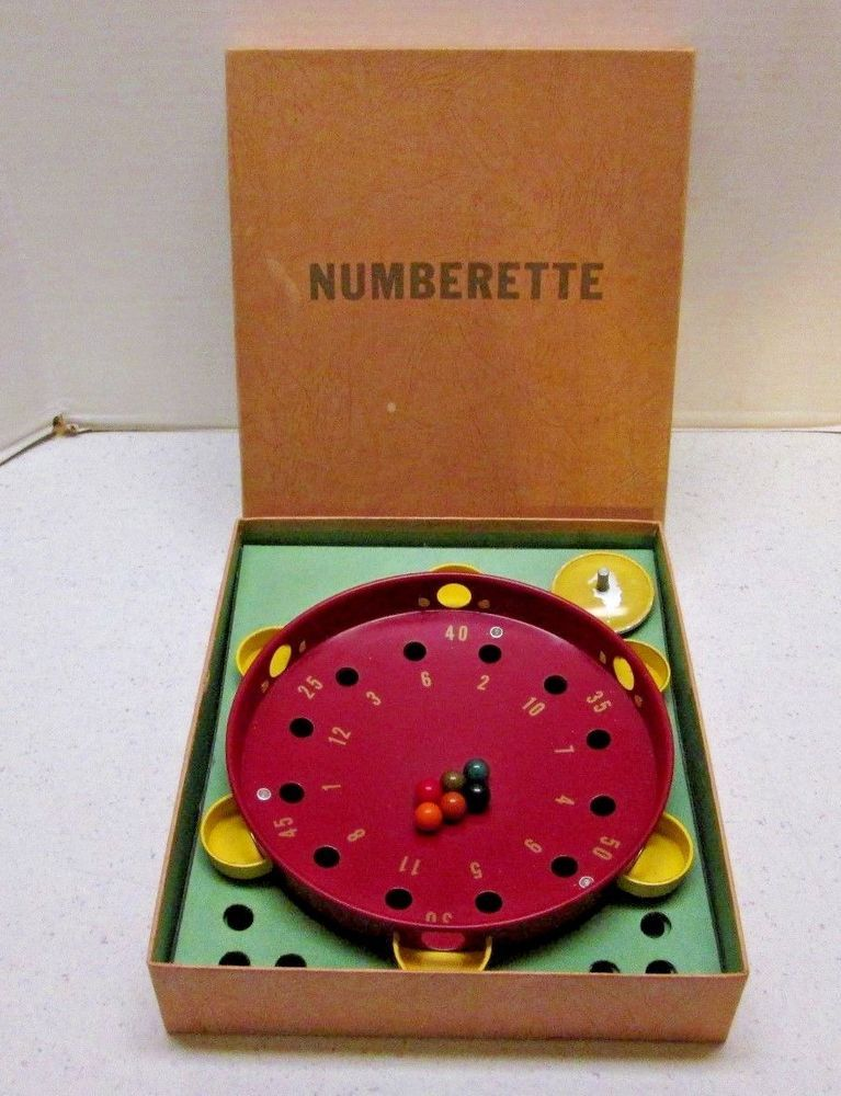 Numberette Vintage Metal Roulette Style Spinning Top Marble Game from the  50's