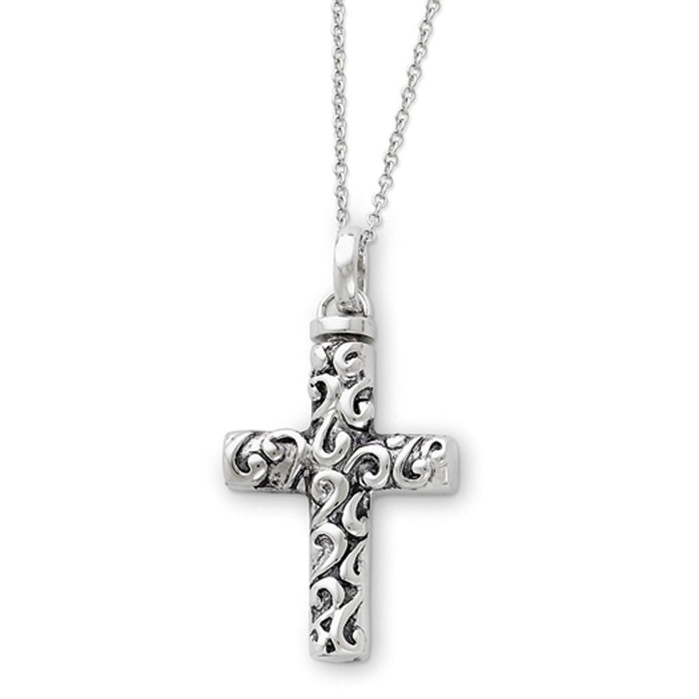 Sterling Silver Diamond Flaming Black Rhodium-plated Cross Pendant
