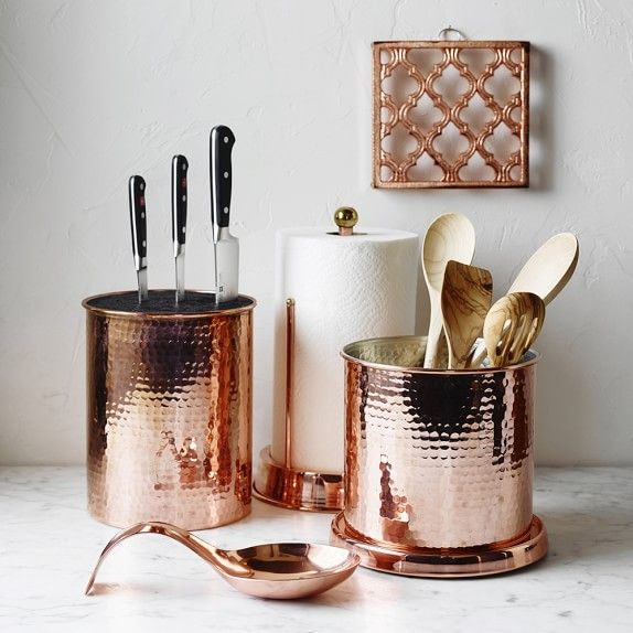 Copper Kitchen Utensil Holder Chairs For Sale Hammered Partitioned Kitchens