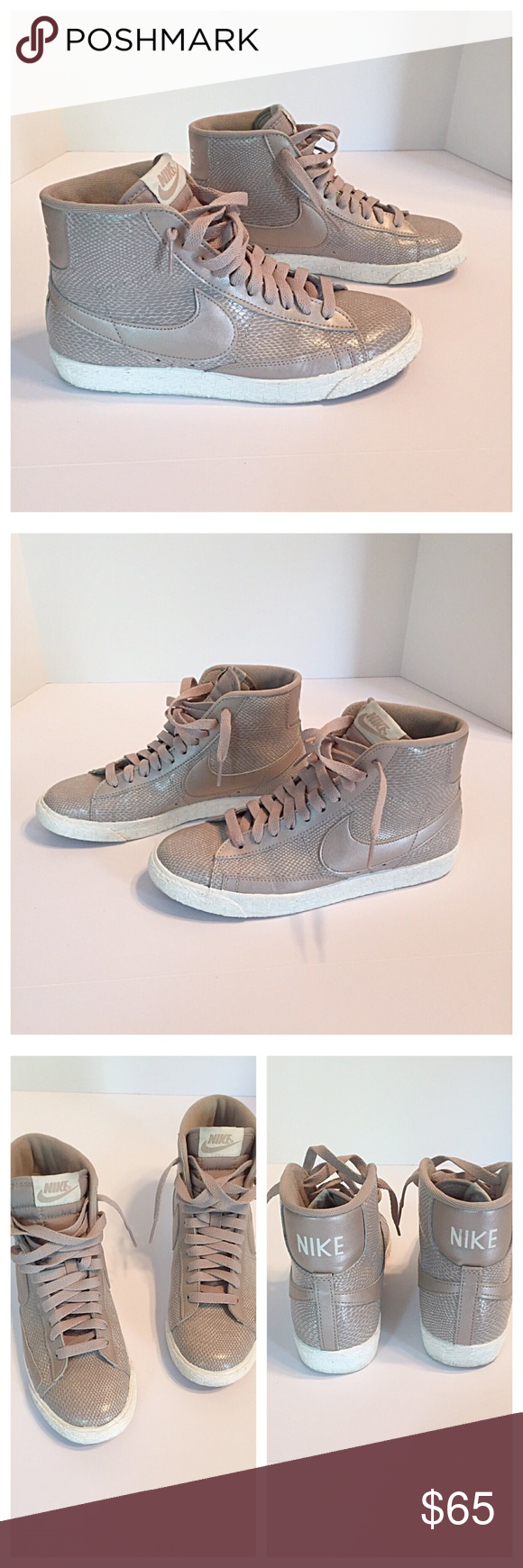 on sale 45898 b43d2 Nike Blazer Beige Snake Skin Sneakers Nike Light Orewood Brown  snake-stamped patent leather Blazer