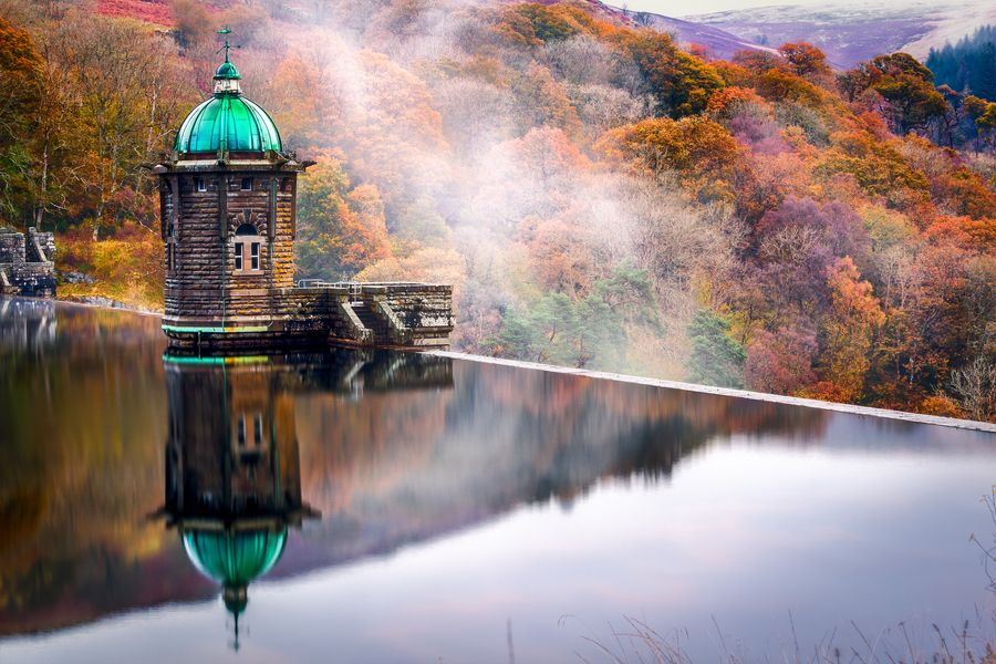 Pen-y-gareg dam house reflection, Elan Valley, Wales