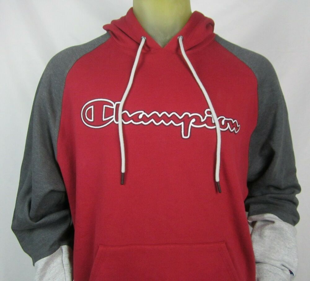 Champion Powerblend Colorblock Hoodie Outline Logo Cherry Pie Oxford Grey Large Champion Pullover Hoodie Outline Hoodies Fleece Pullover [ 906 x 1000 Pixel ]