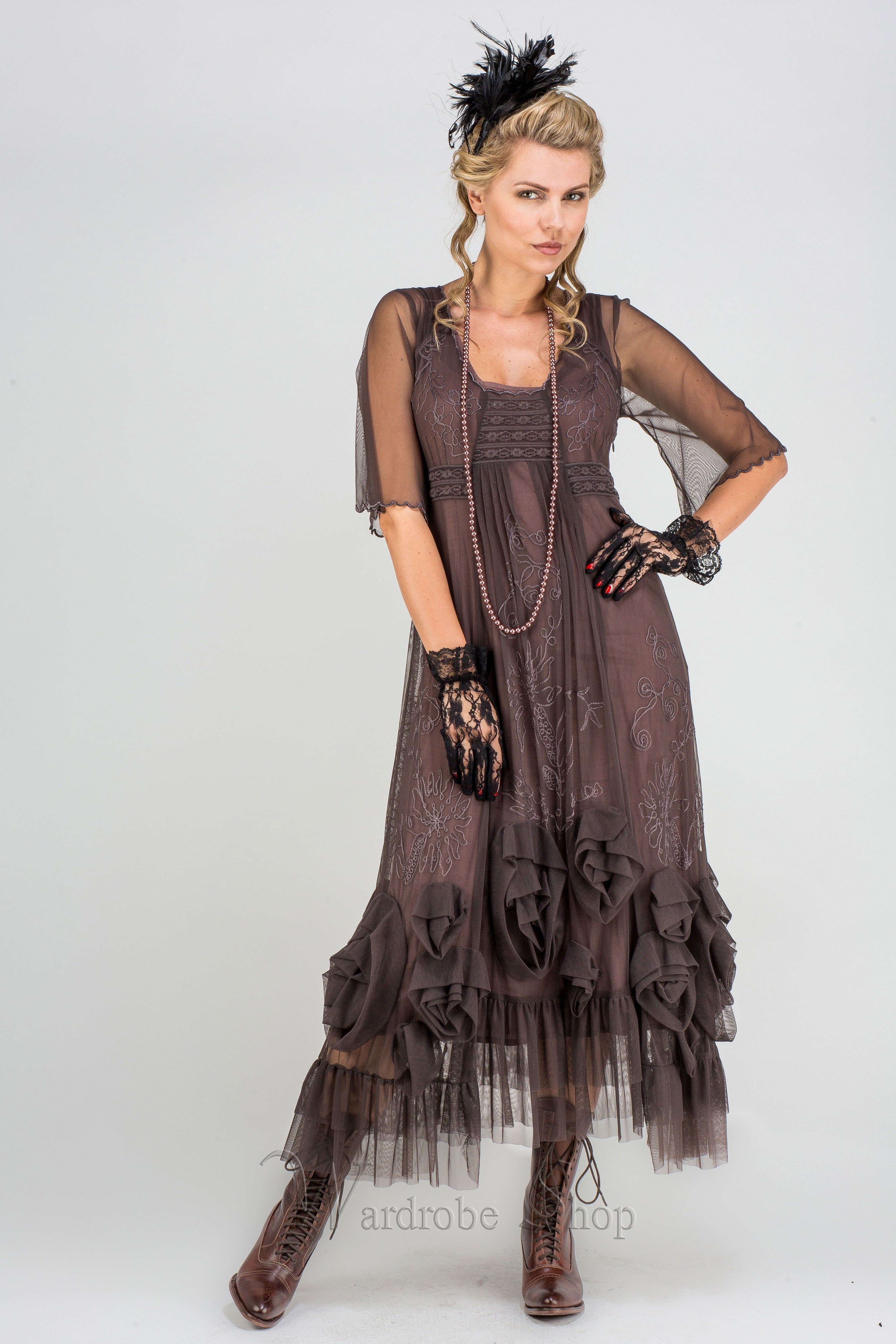 """""""Rose"""" Vintage Inspired Party Dress in Pewter by Nataya"""