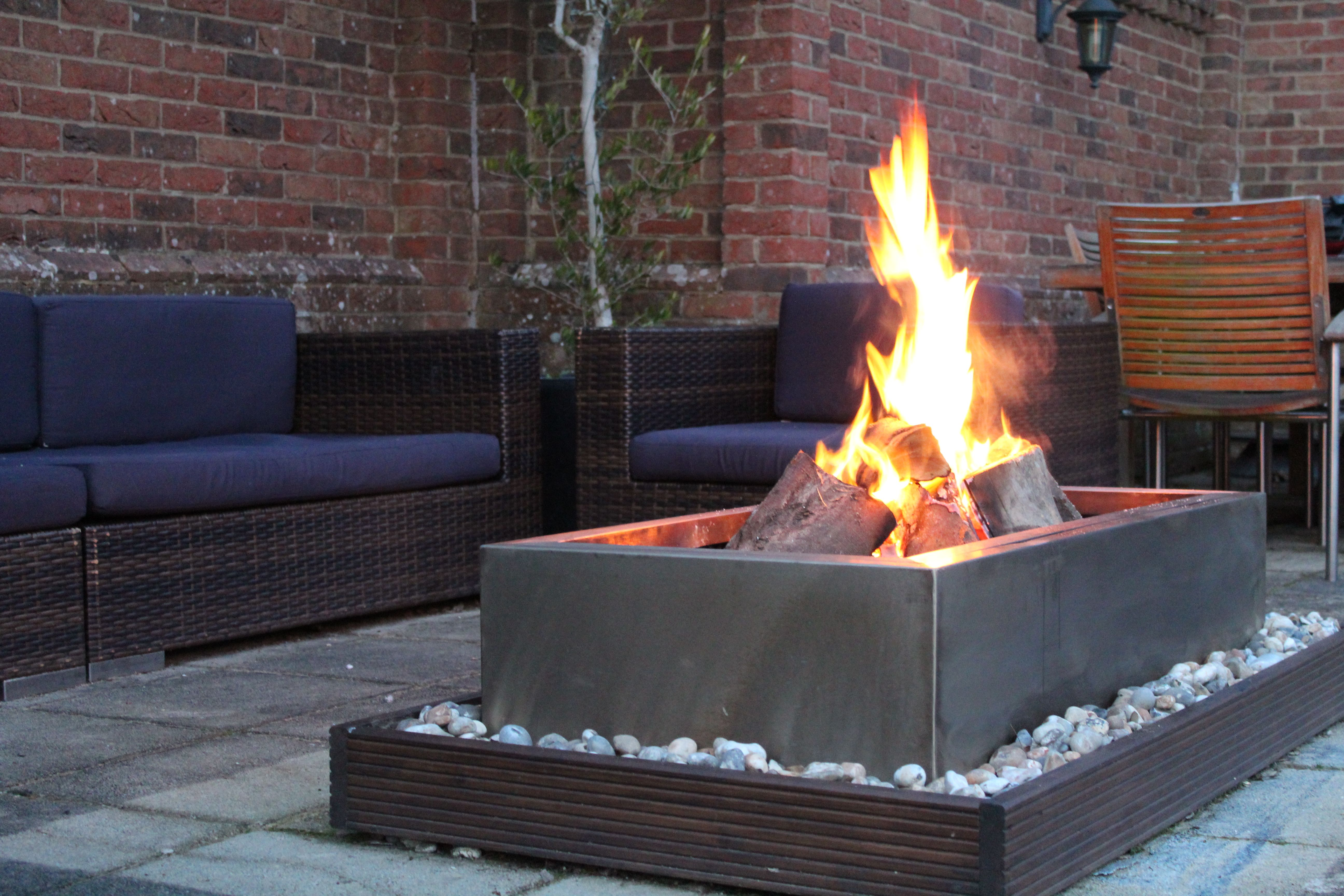 Lux modern stainless steel fire pit available at our etsy shop