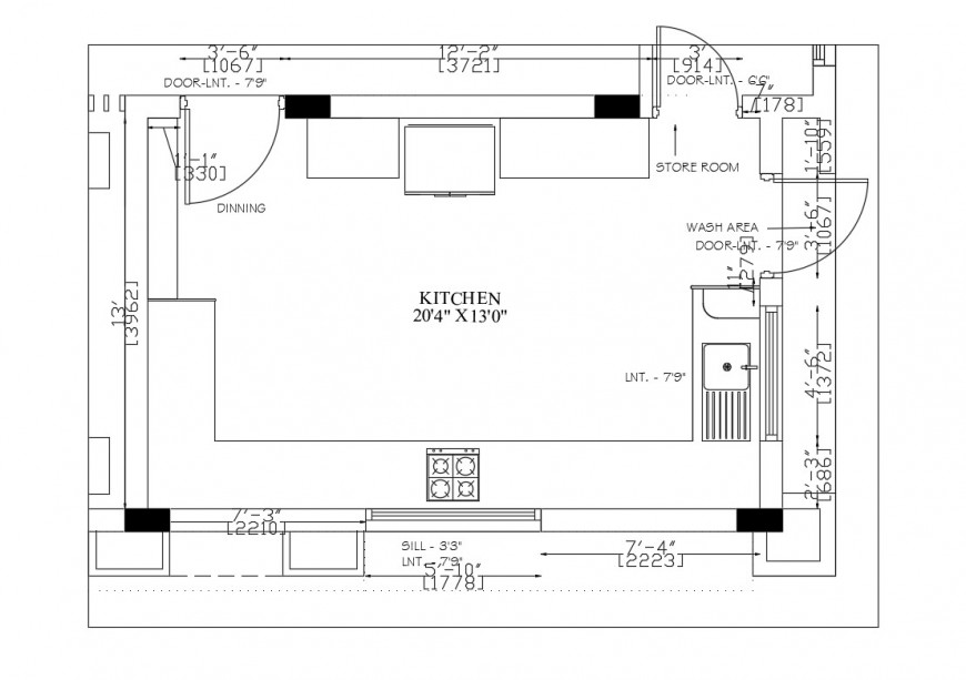 Layout Plan Of A Kitchen Area 2d View Autocad File Kitchen Construction Detailed Drawings How To Plan