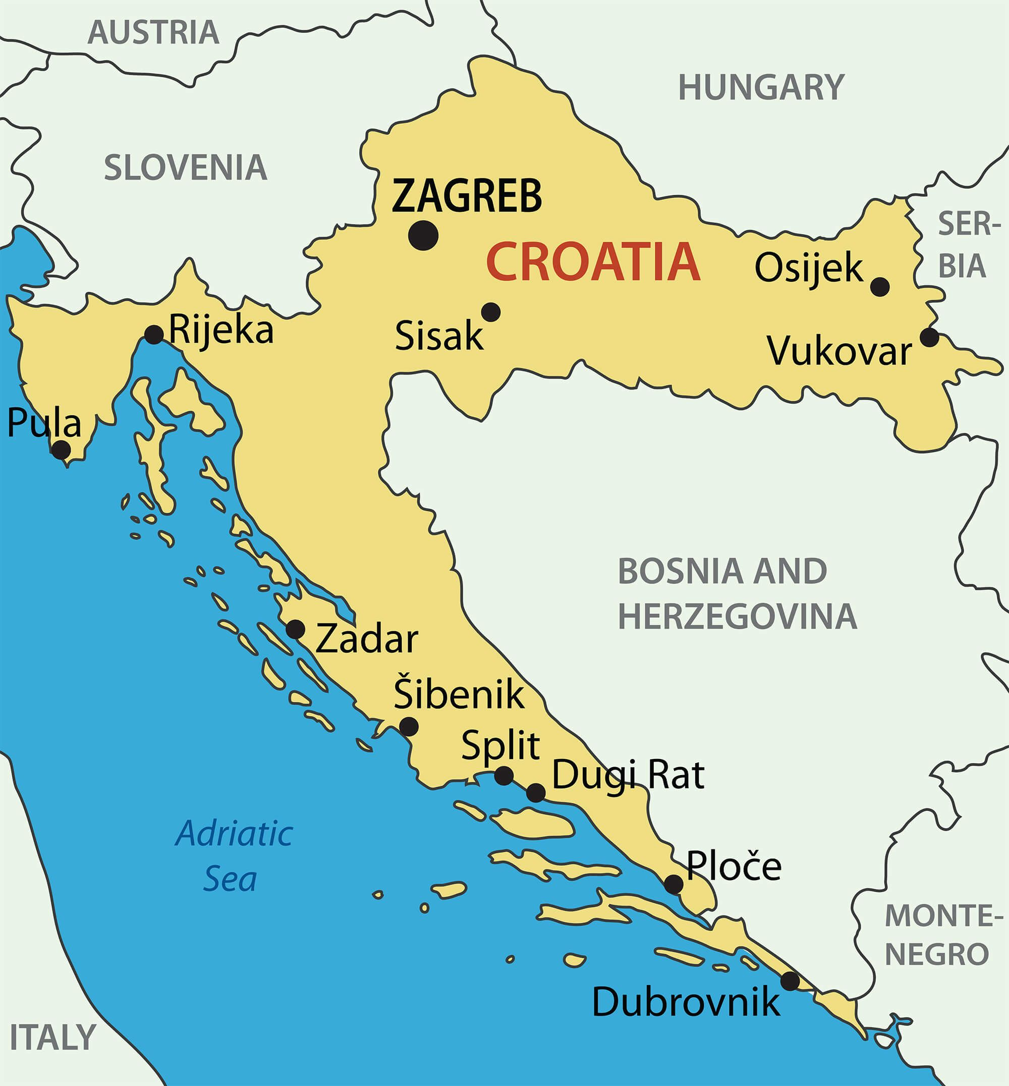 Croatia Map | BXB SCHOOL | Croatia map, Croatia, Map
