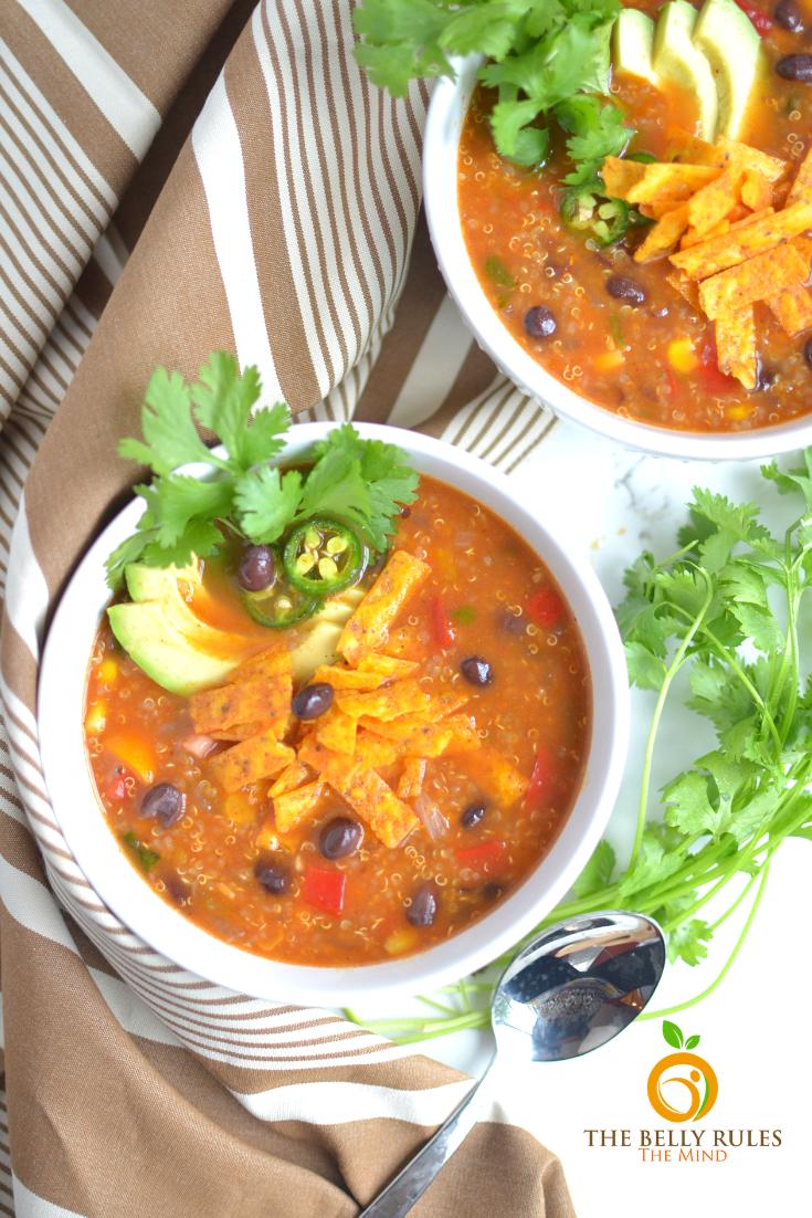 Easy Vegetarian Tortilla Quinoa Soup Recipe Thebellyrulesthemind Recipe In 2020 Mexican Soup Vegetarian Soup Recipes Quinoa Soup