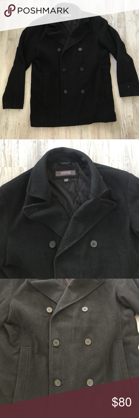 Kenneth cole reaction pea coat double breasted button all black size