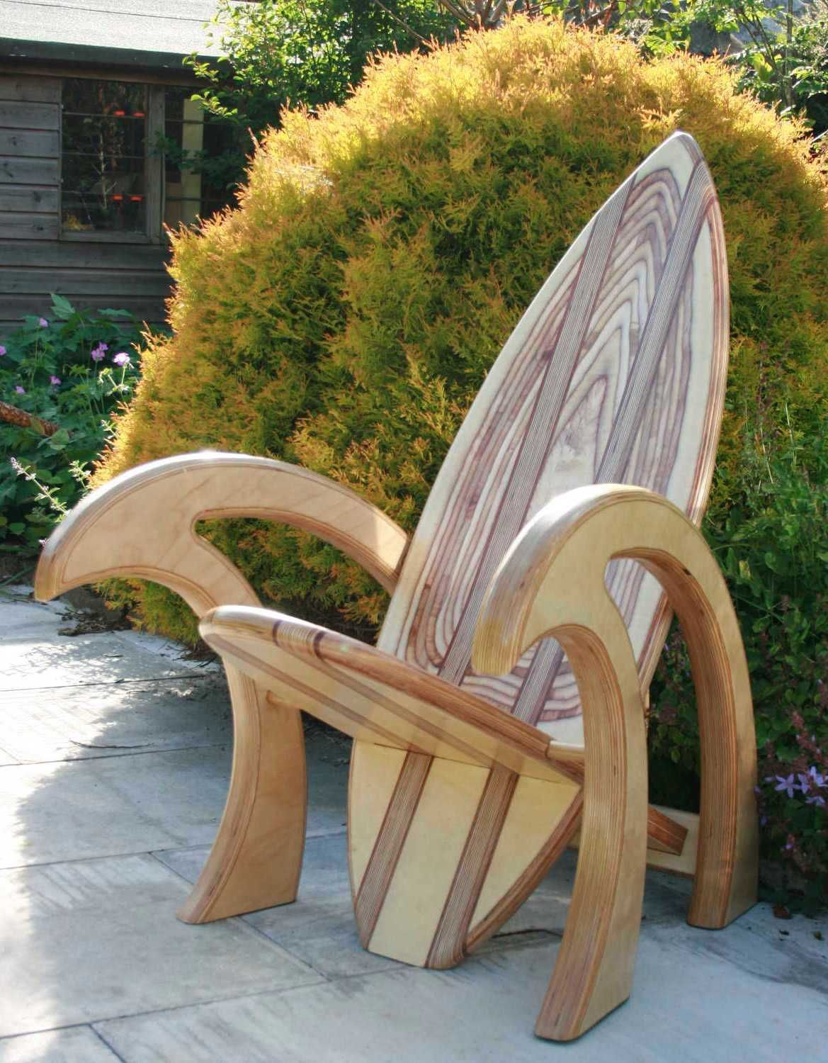 surfboard chair from jimagination creations unique wood on extraordinary creative wooden furniture design id=99545