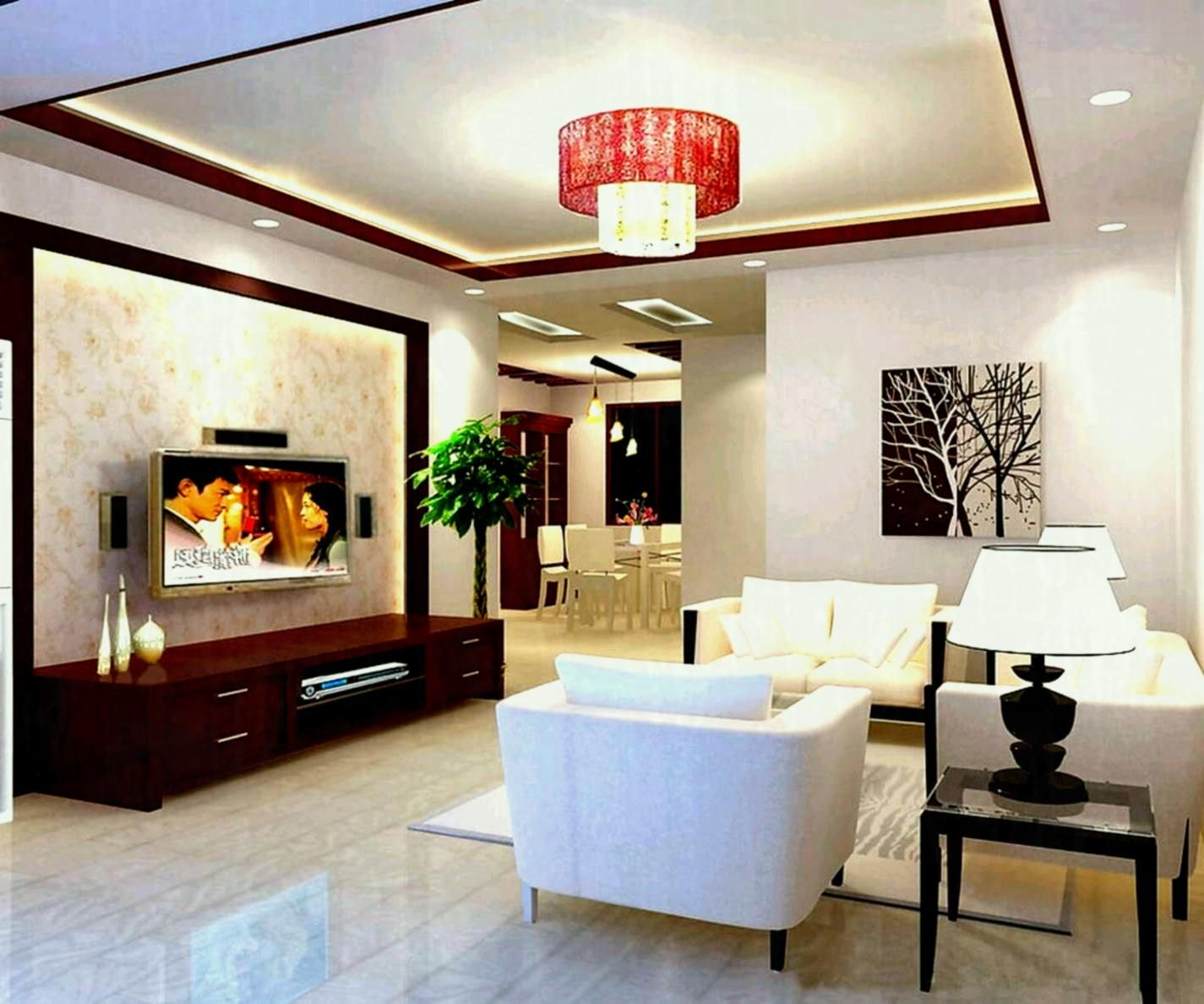 Pretty Home Interior Design For Middle Class Family With Pink Chandelier  Also