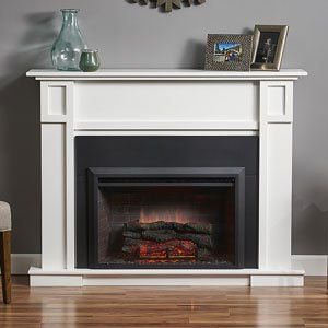 heritage electric fireplace mantel package in white htgw u0026 gi32 - Electric Fireplace With Mantel