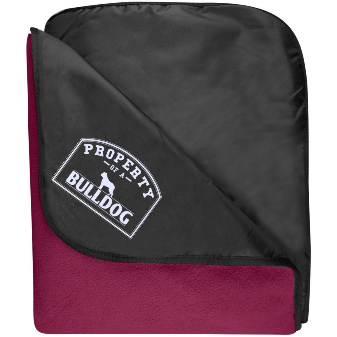 I Love My Bulldog - Fleece & Poly Travel Blanket (Embroidered)