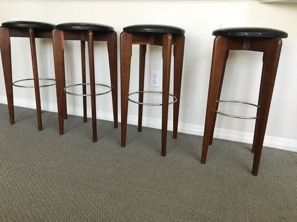 Superb Set Of 4 Mid Century Modern Leather And Wood Bar Stools For Forskolin Free Trial Chair Design Images Forskolin Free Trialorg