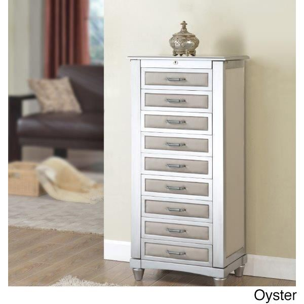 Nathan 9drawer Jewelry Armoire with Cushions Oyster Beige Off