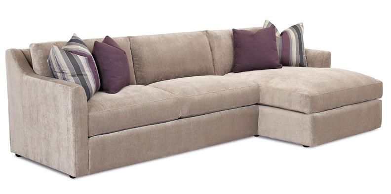 Klaussner Baxton Contemporary 2 Piece Sofa with Chaise Reeds