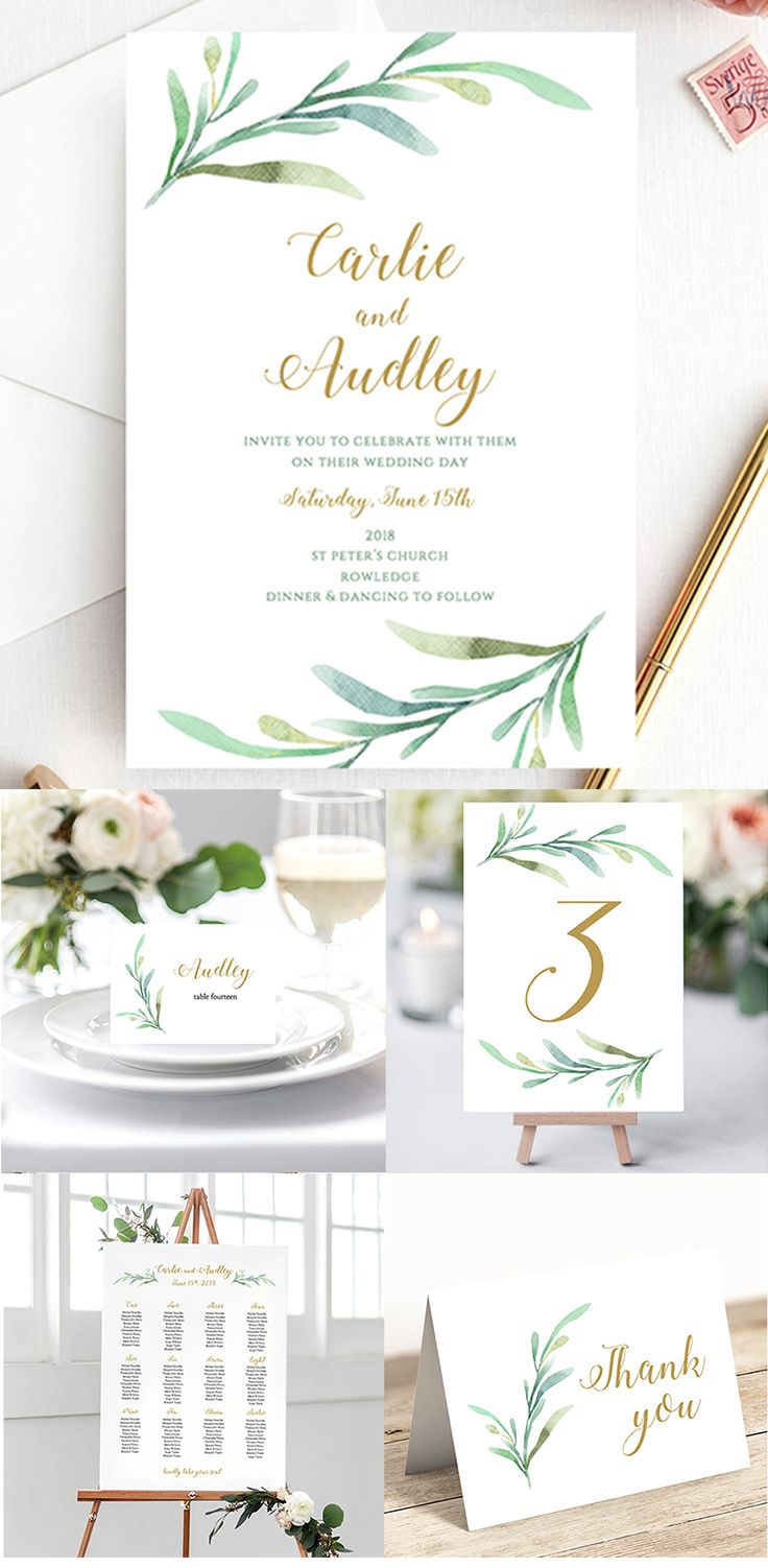Greenery Wedding Printable Wedding Invitation by Connie and Joan ...