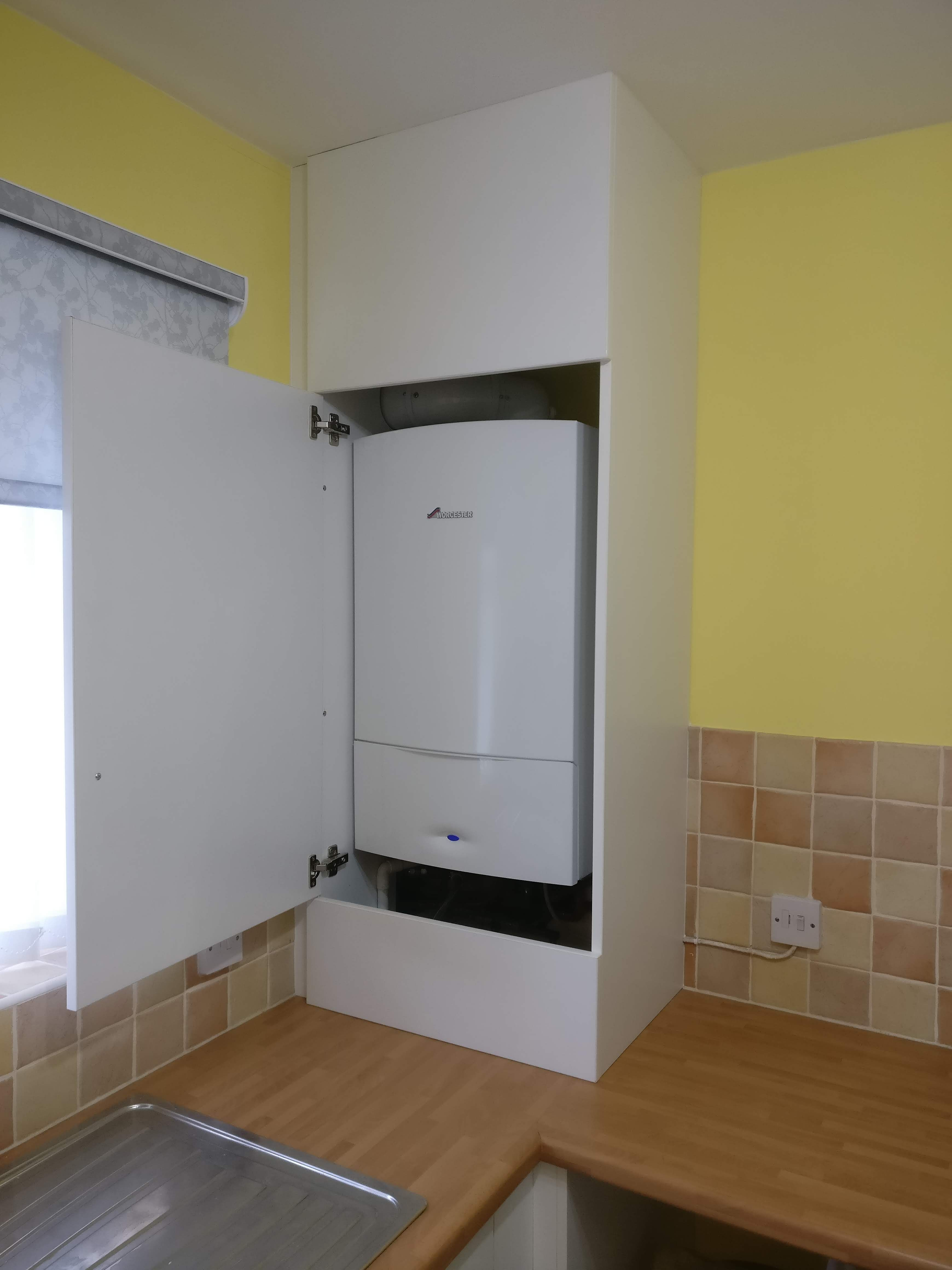 White Melamine Boiler Surround With The Door Open Full And Easy Access To The Boiler With Removable Panels Top And Bottom If More Acc With Images Home Home Decor Paneling