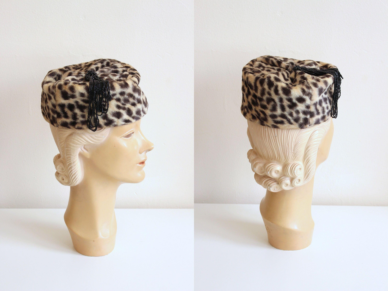 e70df97f0d31 leopard print pillbox hat - Lord & Taylor Salon hat / faux leopard fur  pillbox