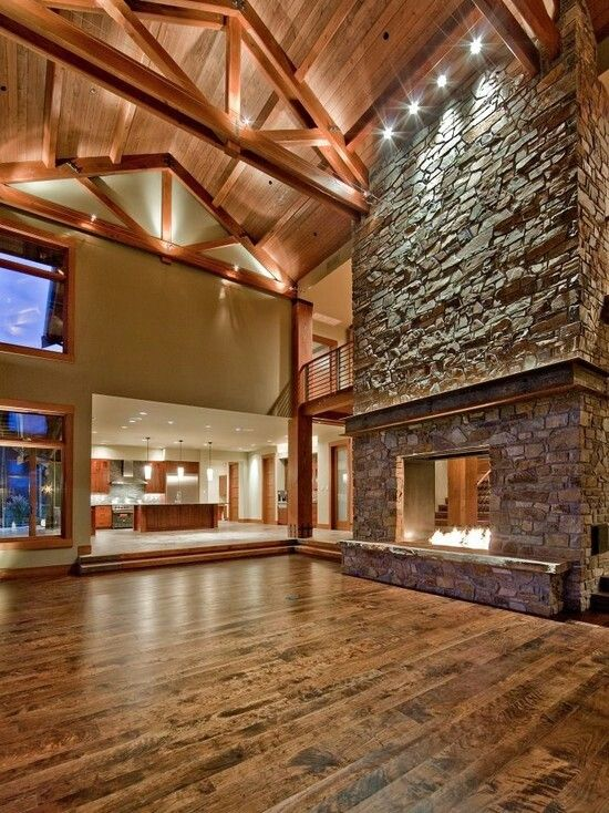 Grand Fireplace W Vaulted Ceilings Beams Open Floor: Double Sided Fireplace, Vaulted Ceiling W/beams, Big