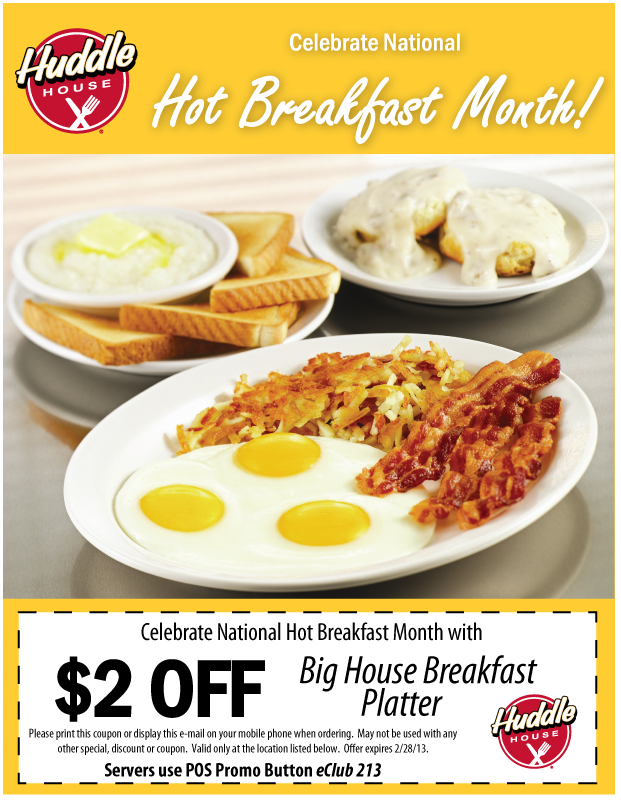 image regarding Huddle House Coupons Printable named Couple of pounds off your breakfast platter at Huddle Dwelling
