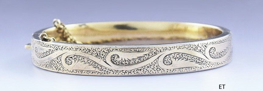 C1850 1875 Charming Victorian 10k Gold Child Size Bangle Bracelet Bangle Bracelets 10k Gold Bangles