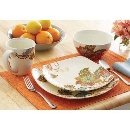 Better Homes and Gardens Floral Spray 16 Piece Square Dinnerware