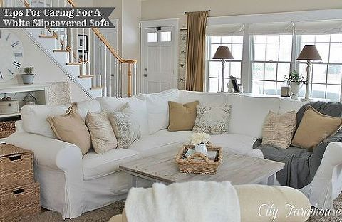 real life with white slipcovers amp tips on keeping them pretty