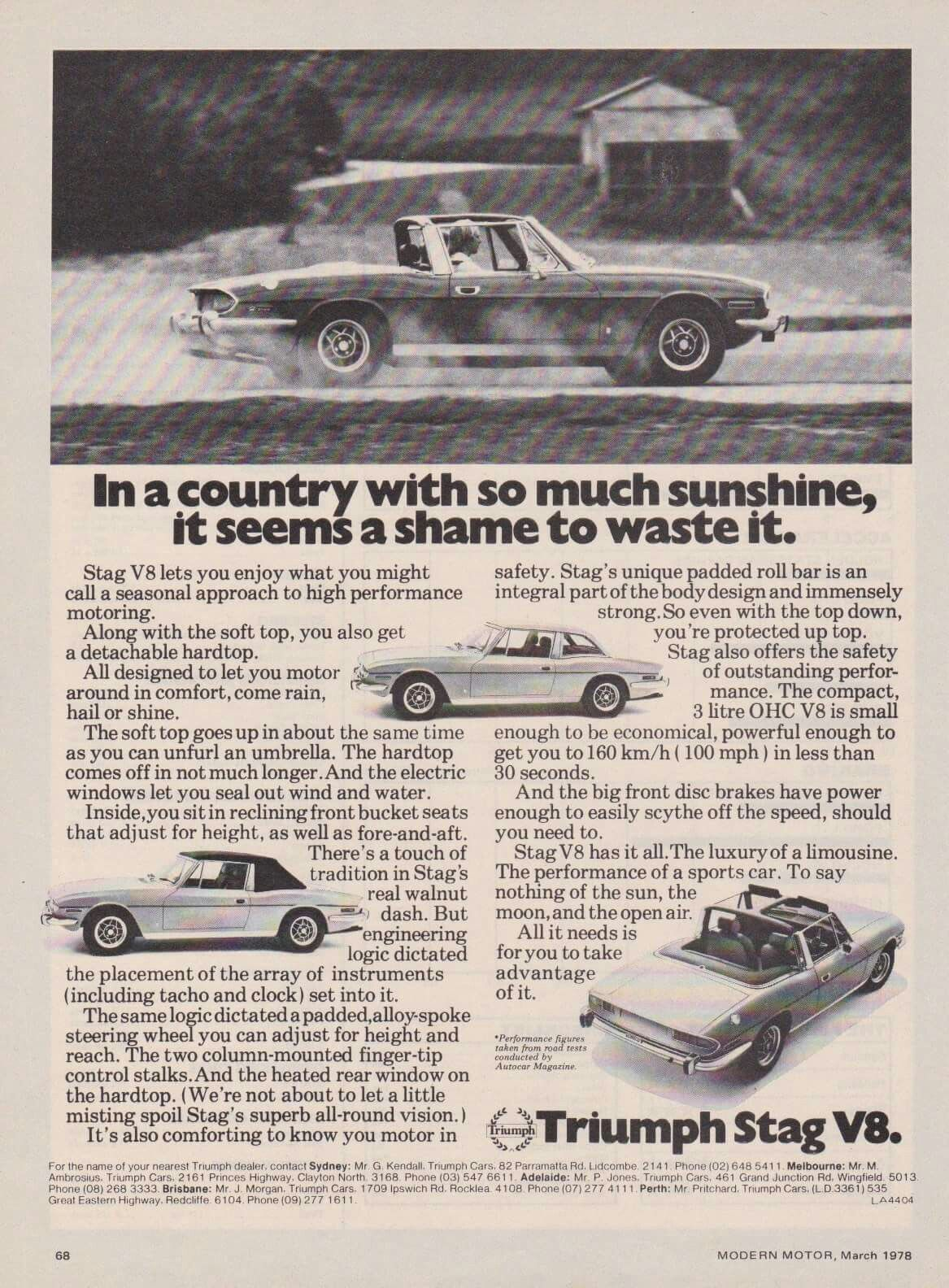Triumph Stag advertising from the Australian Modern Motor magazine ...