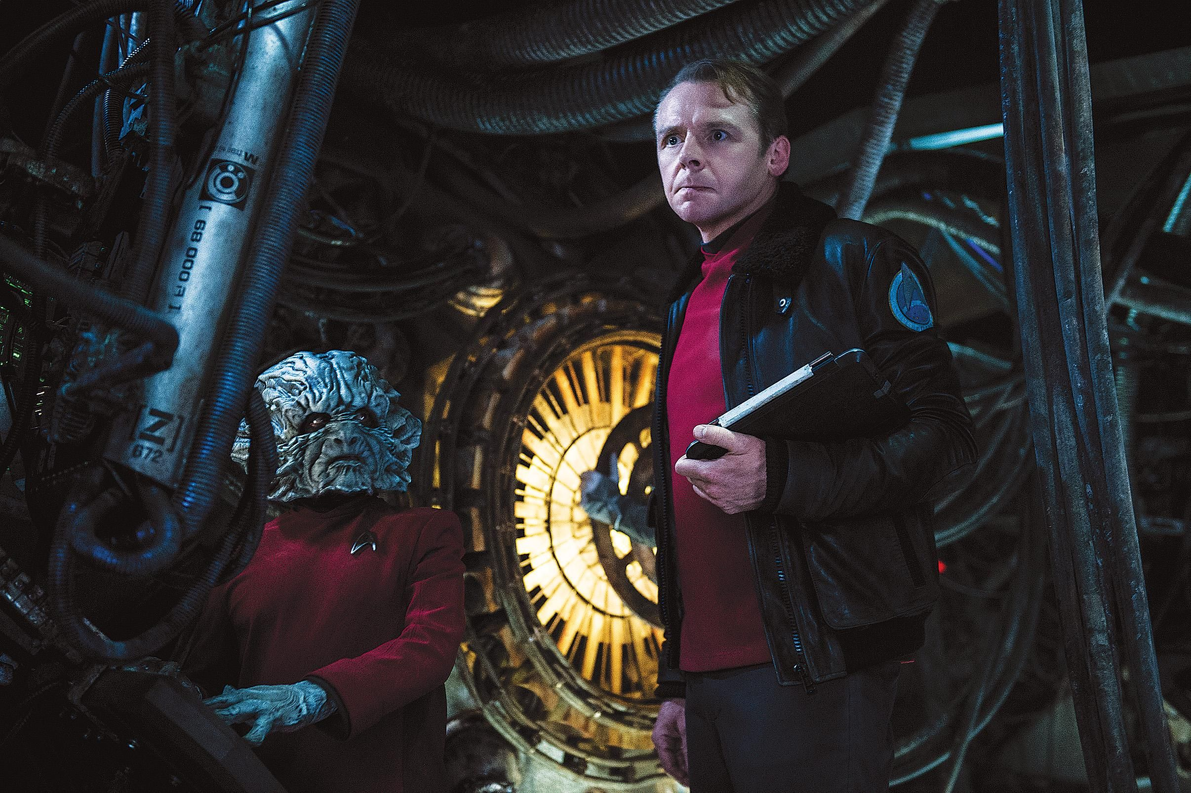 Deep Roy and Simon Pegg as engineers Keenser and Scotty in Star Trek Beyond, the current Enterprise crew's third big-screen adventure. (Kimberly French/Paramount)