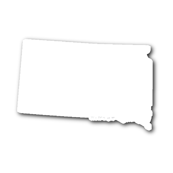 South Dakota State Shape Sticker Outline White South Dakota