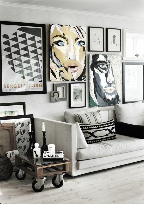 Wandgestaltung Wohnzimmer - 20 kreative Wanddeko Ideen Apartment