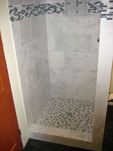 Shower stall renovation ideas the tiling and grouting is for Small tiled showers