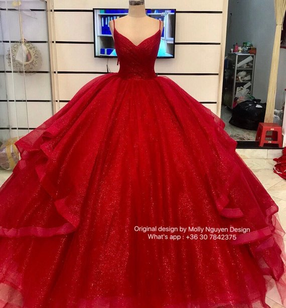 Iridescent Red Gown Wedding Gown Modern Evening Wear Sparkly Ballgown Custom Made 03 The Dress Wi Quincenera Dresses Red Ball Gowns Red Quinceanera Dresses