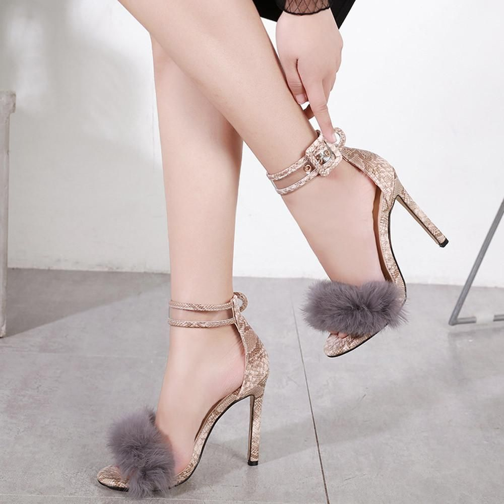 8aa64aab886 Women Sandals Shoes Women Suede High Heels Footwear Ankle Sandals Female  Wedding. Style Type  Ankle Strap ...