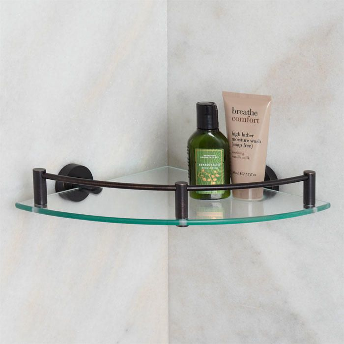 Bristow Tempered Glass Corner Shelf Oil Rubbed Bronze With