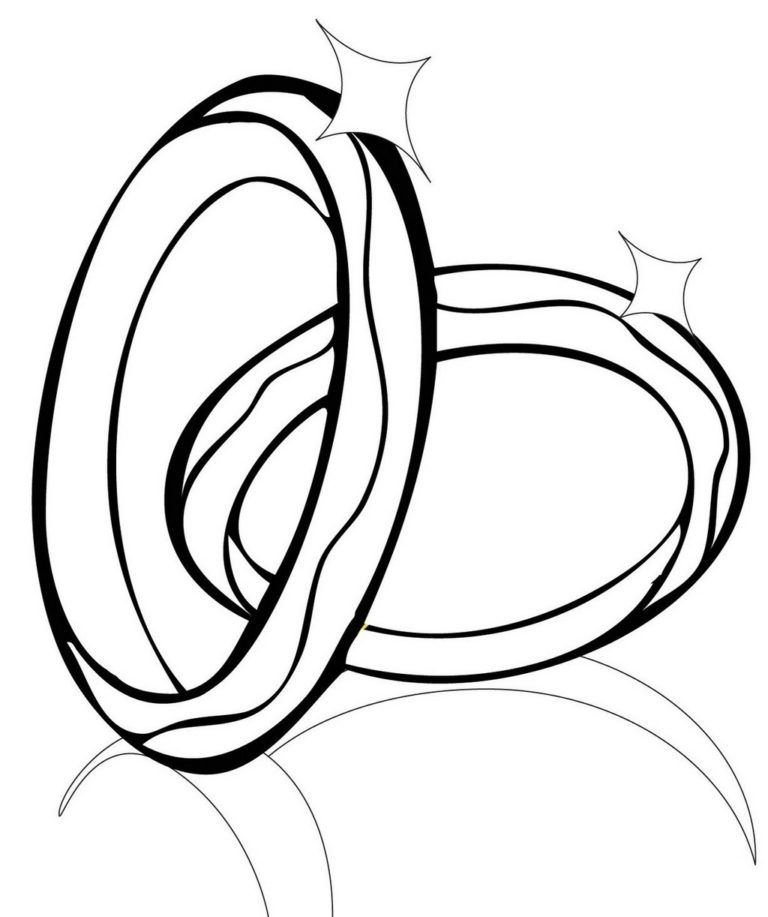 Awesome Wedding Rings Coloring Sheet Wedding Ring Clipart Fun