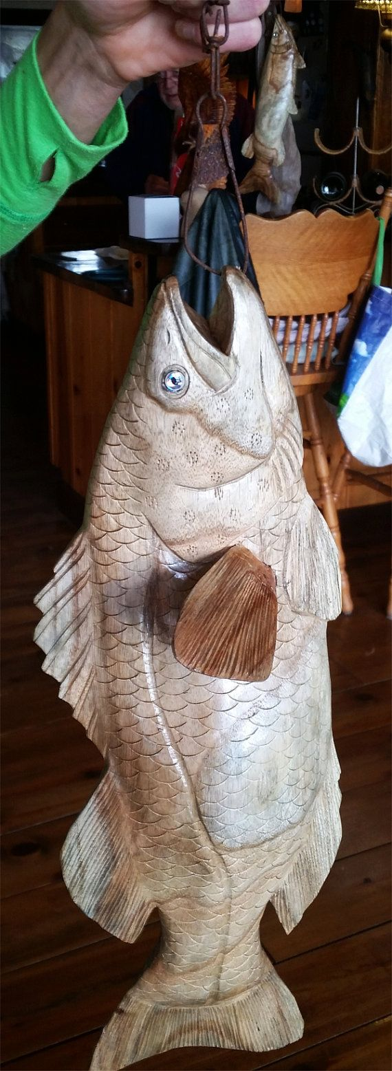 Wood largemouth bass hand carved by trees treasuresca on