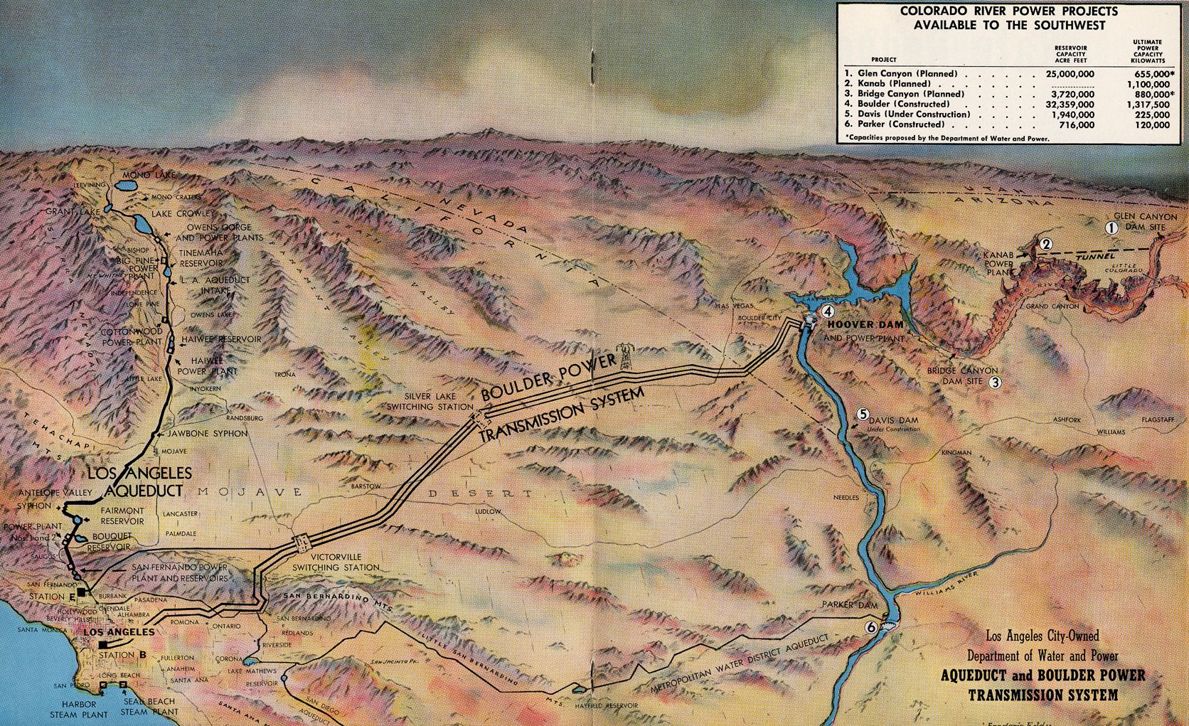 Color map of the colorado river power projects available to the color map of the colorado river power projects available to the southwest 1948 this map was included in the los angeles department of water and powers publicscrutiny Image collections