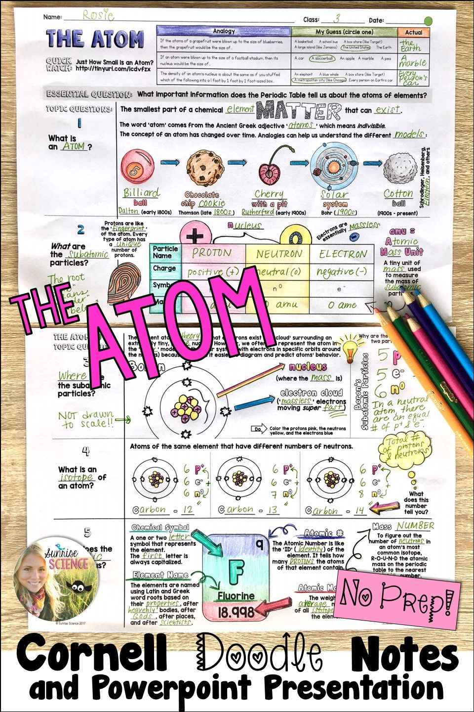 Teaching About Atoms And The Periodic Table Try Using These Cornell Format Doodle Notes Which Provide Structure Science Notes Teaching Chemistry Doodle Notes