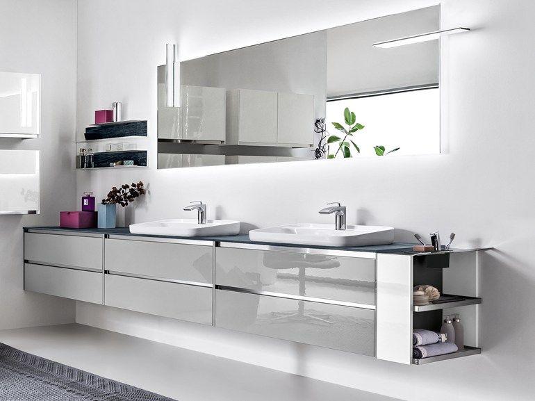Duplo Badezimmer ~ Móvel lavatório duplo lacado suspenso zero móvel lavatório