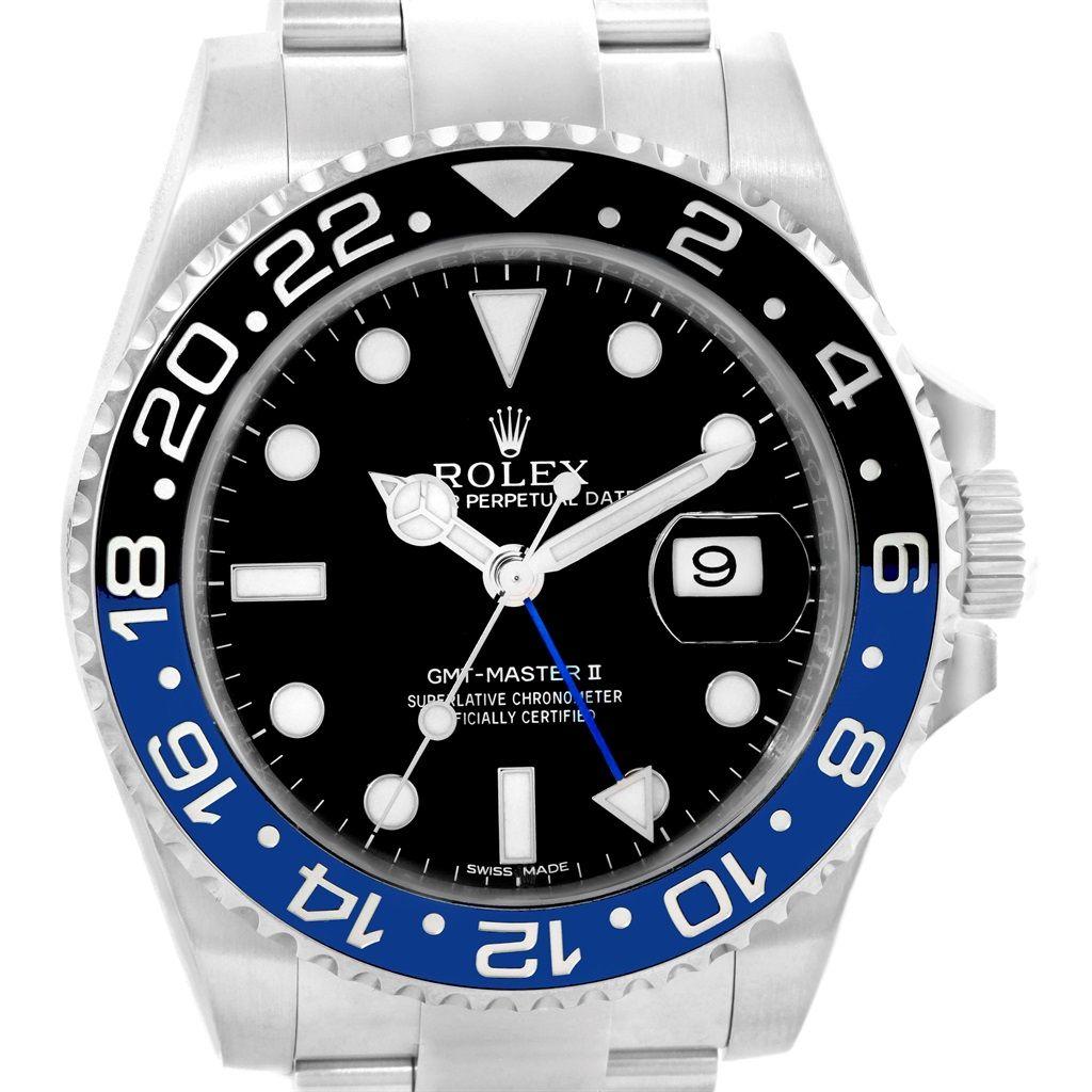 20727 Rolex Gmt Master Ii Batman Blue Black Bezel Steel Watch 116710 Box Card Swisswatchexpo Rolex Rolex Watches For Men Rolex Gmt Master
