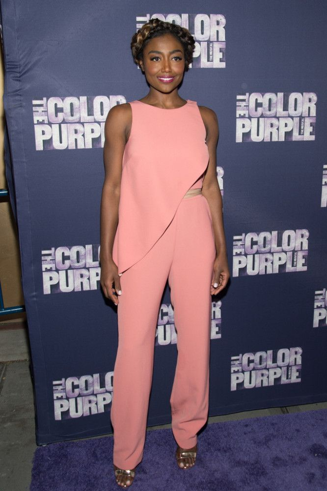 Patina Miller in a blush pink suit at The Color Purple Broadway Opening.