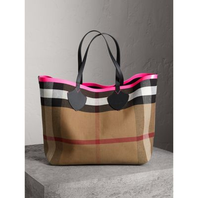 The Giant Reversible Tote in Canvas Check and Leather in Black neon Pink  bcdb38df8038d